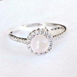 Solid 925 Silver Rose Quartz Ring